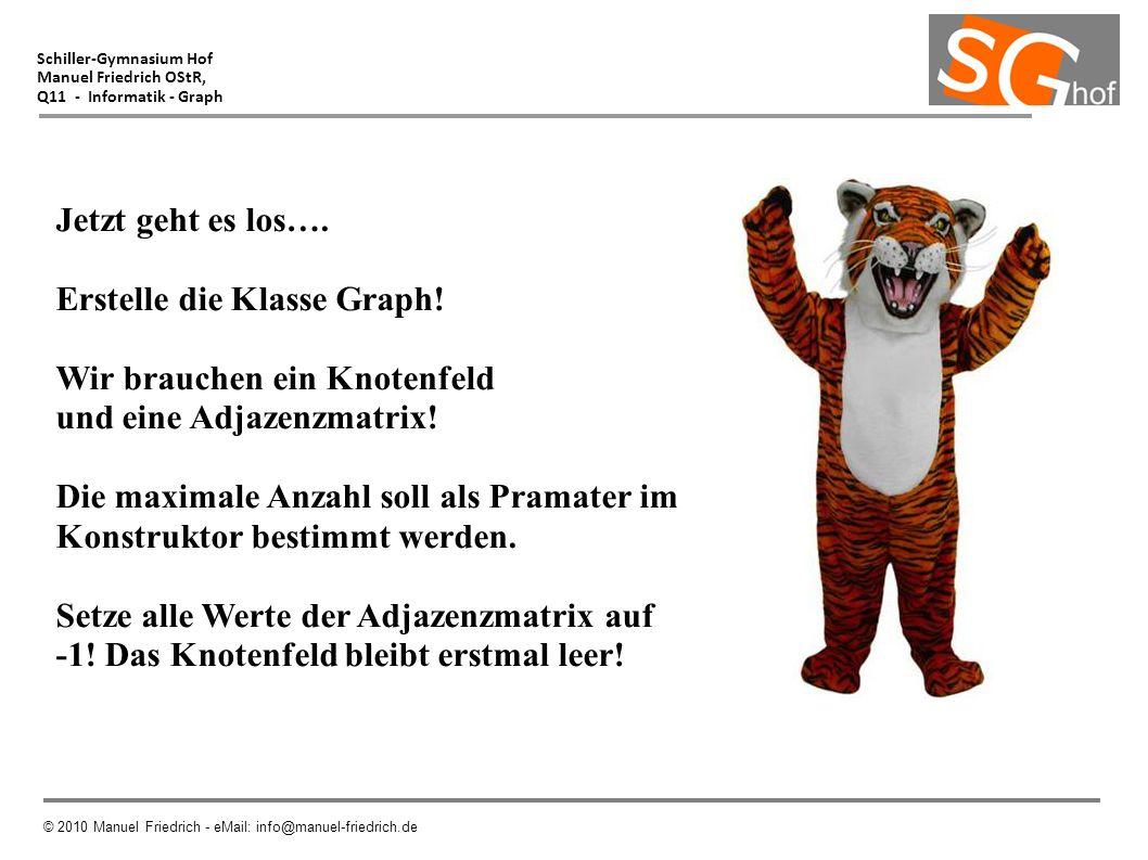 Schiller-Gymnasium Hof Manuel Friedrich OStR, Q11 - Informatik - Graph © 2010 Manuel Friedrich - eMail: info@manuel-friedrich.de Jetzt geht es los…. E