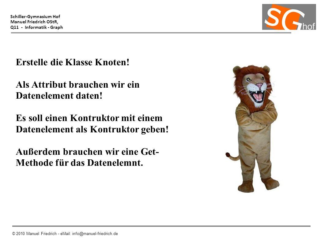 Schiller-Gymnasium Hof Manuel Friedrich OStR, Q11 - Informatik - Graph © 2010 Manuel Friedrich - eMail: info@manuel-friedrich.de Erstelle die Klasse K