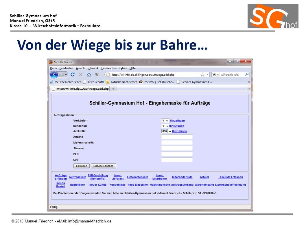 Schiller-Gymnasium Hof Manuel Friedrich, OStR Klasse 10 - Wirtschaftsinformatik – Formulare © 2010 Manuel Friedrich - eMail: info@manuel-friedrich.de Von der Wiege bis zur Bahre…