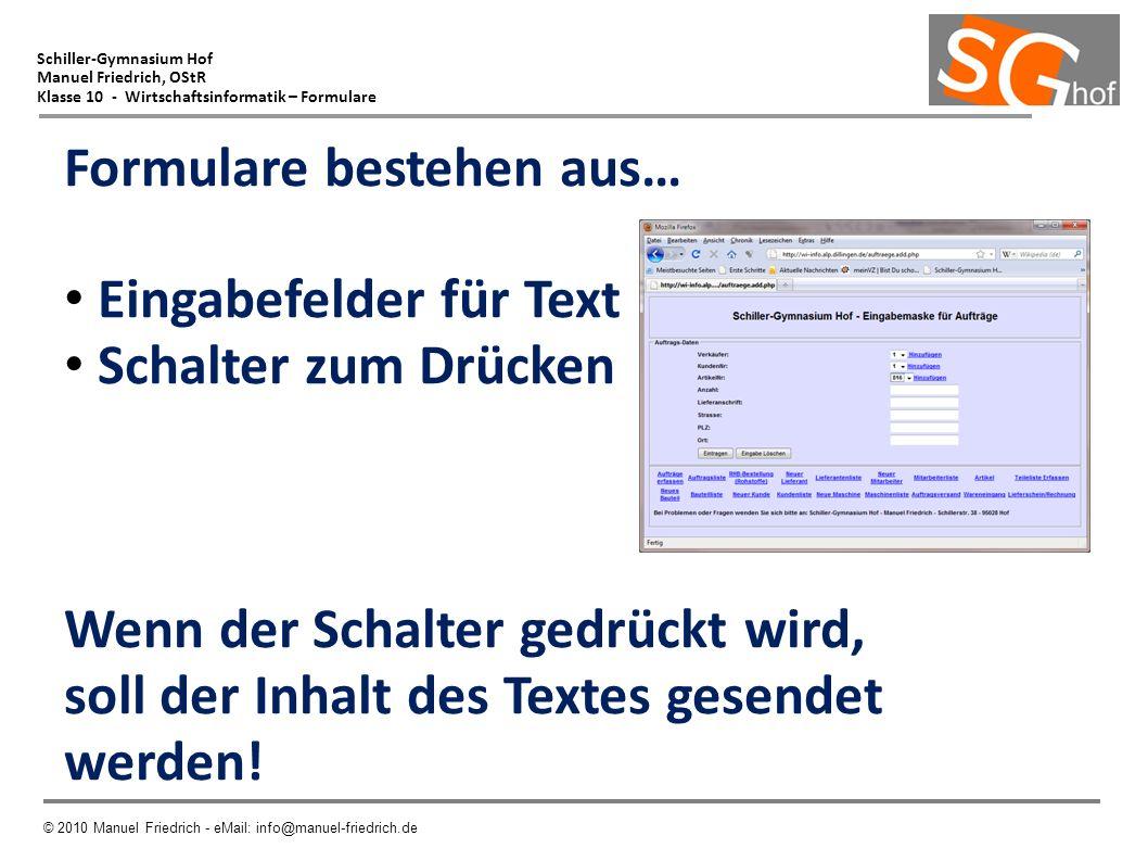 Schiller-Gymnasium Hof Manuel Friedrich, OStR Klasse 10 - Wirtschaftsinformatik – Formulare © 2010 Manuel Friedrich - eMail: info@manuel-friedrich.de