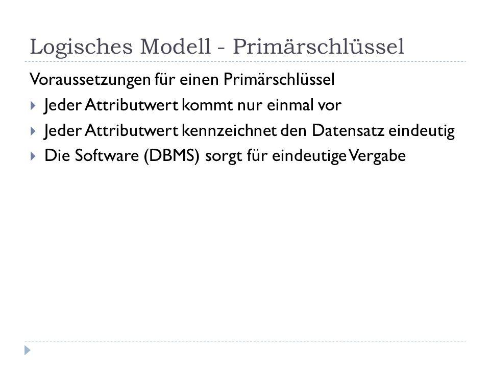 Logisches Modell - Primärschlüssel Voraussetzungen für einen Primärschlüssel Jeder Attributwert kommt nur einmal vor Jeder Attributwert kennzeichnet d