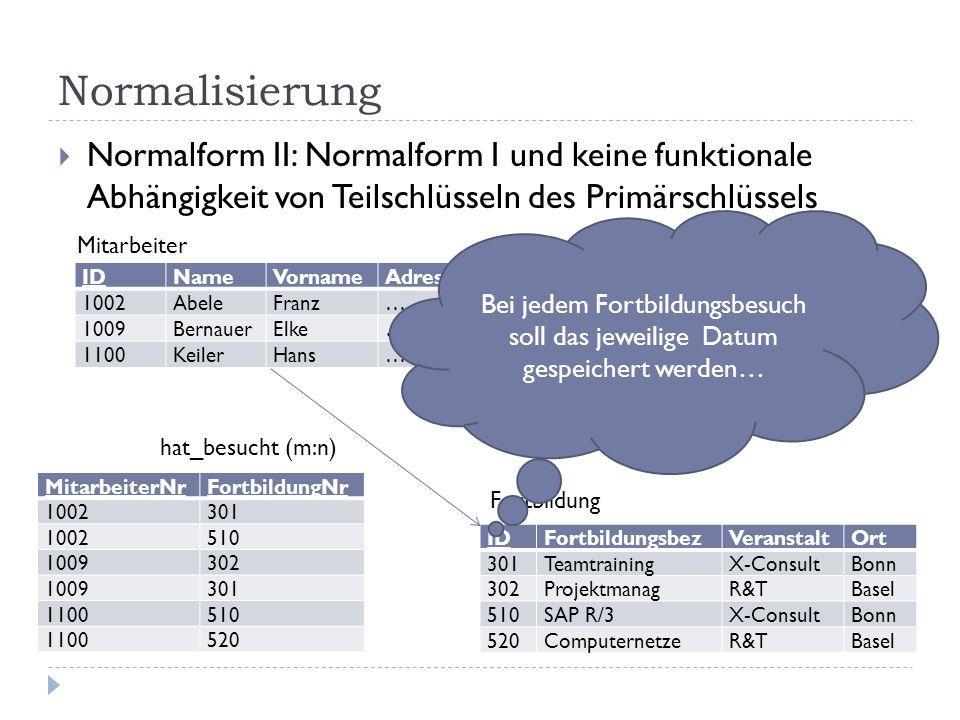 Normalisierung Normalform II: Normalform I und keine funktionale Abhängigkeit von Teilschlüsseln des Primärschlüssels IDNameVornameAdresseGehalt 1002A