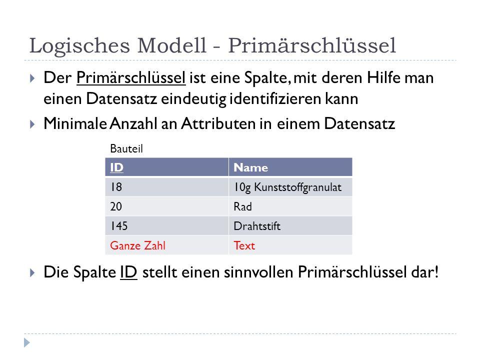 Logisches Modell - Primärschlüssel Der Primärschlüssel ist eine Spalte, mit deren Hilfe man einen Datensatz eindeutig identifizieren kann Minimale Anz