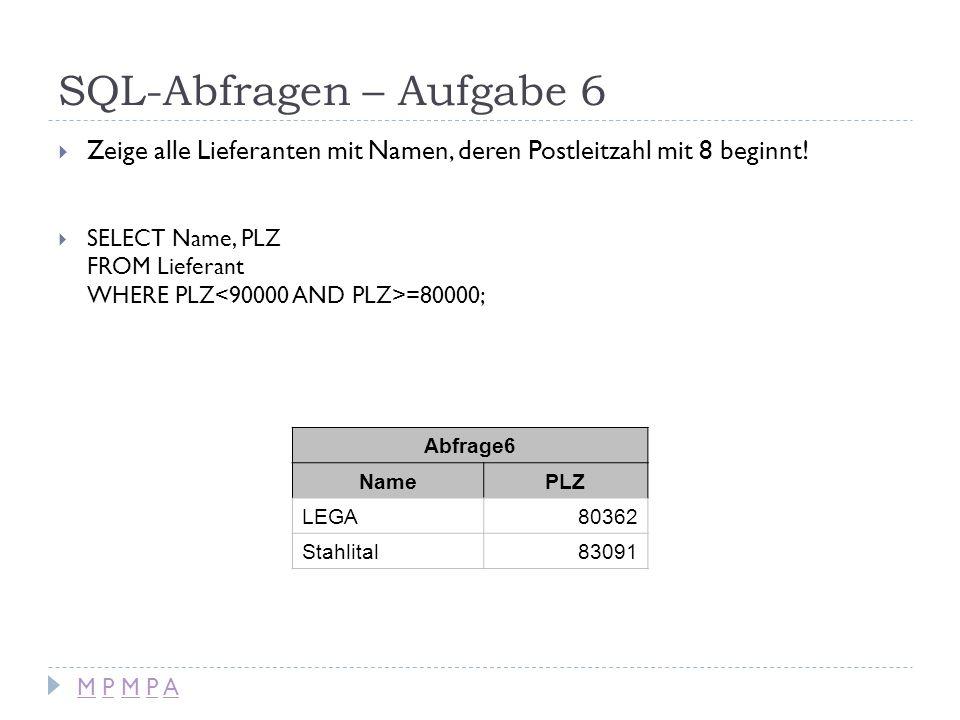 SQL-Abfragen – Aufgabe 6 Zeige alle Lieferanten mit Namen, deren Postleitzahl mit 8 beginnt! SELECT Name, PLZ FROM Lieferant WHERE PLZ =80000; Abfrage