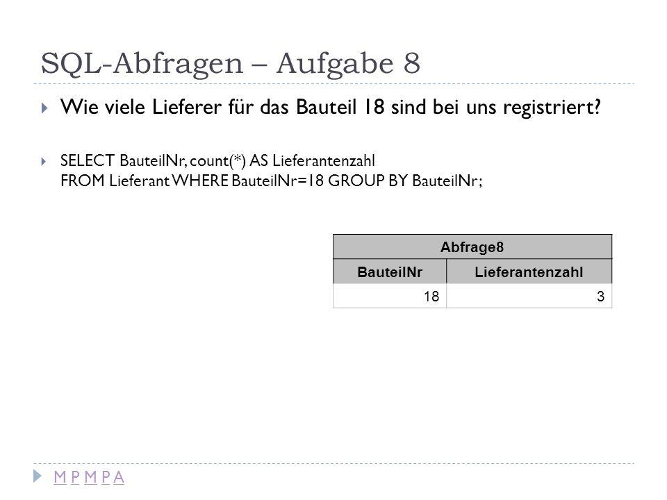SQL-Abfragen – Aufgabe 8 Wie viele Lieferer für das Bauteil 18 sind bei uns registriert? SELECT BauteilNr, count(*) AS Lieferantenzahl FROM Lieferant