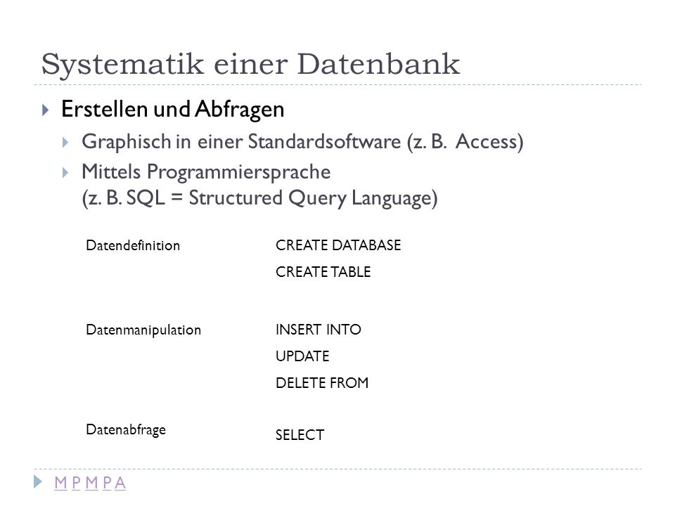 SQL-Abfragen mit SELECT SELECT [spaltenname] FROM [tabellenname] WHERE [bedingung] ORDER BY [spaltenname] GROUP BY [spaltenname] ; Beispiel: SELECT * FROM Produkt; M P M P AM P M P A