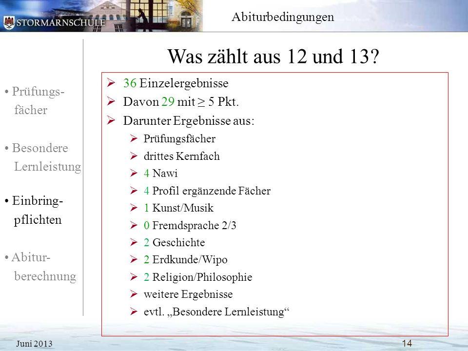 Prüfungs- fächer Besondere Lernleistung Einbring- pflichten Abitur- berechnung Abiturbedingungen Was zählt aus 12 und 13? Juni 2013 14 36 Einzelergebn