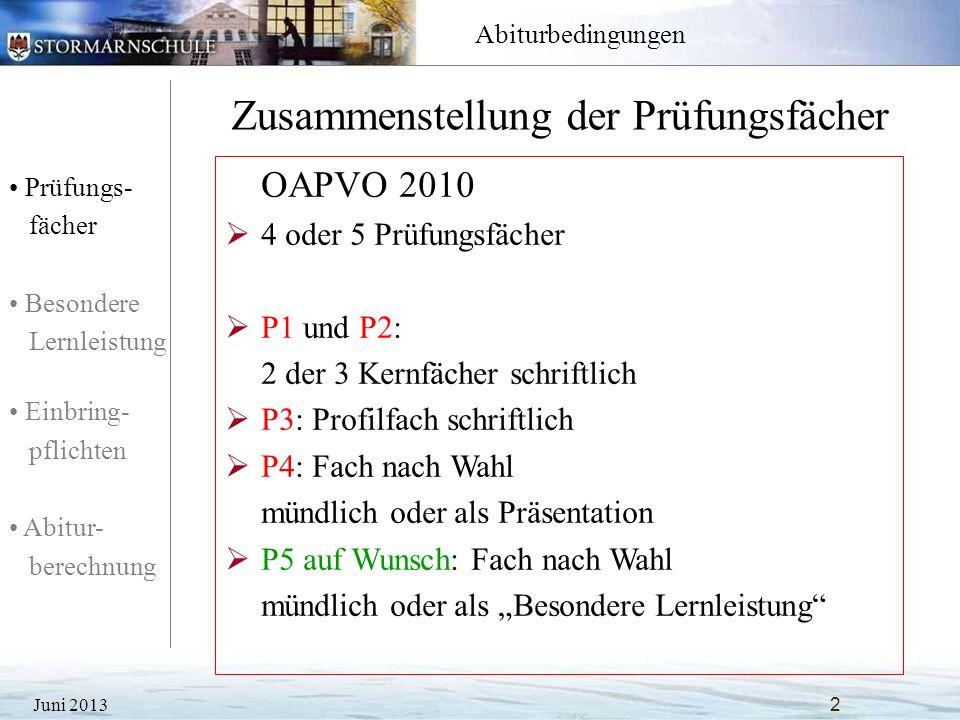 Prüfungs- fächer Besondere Lernleistung Einbring- pflichten Abitur- berechnung Abiturbedingungen Kann als 5.