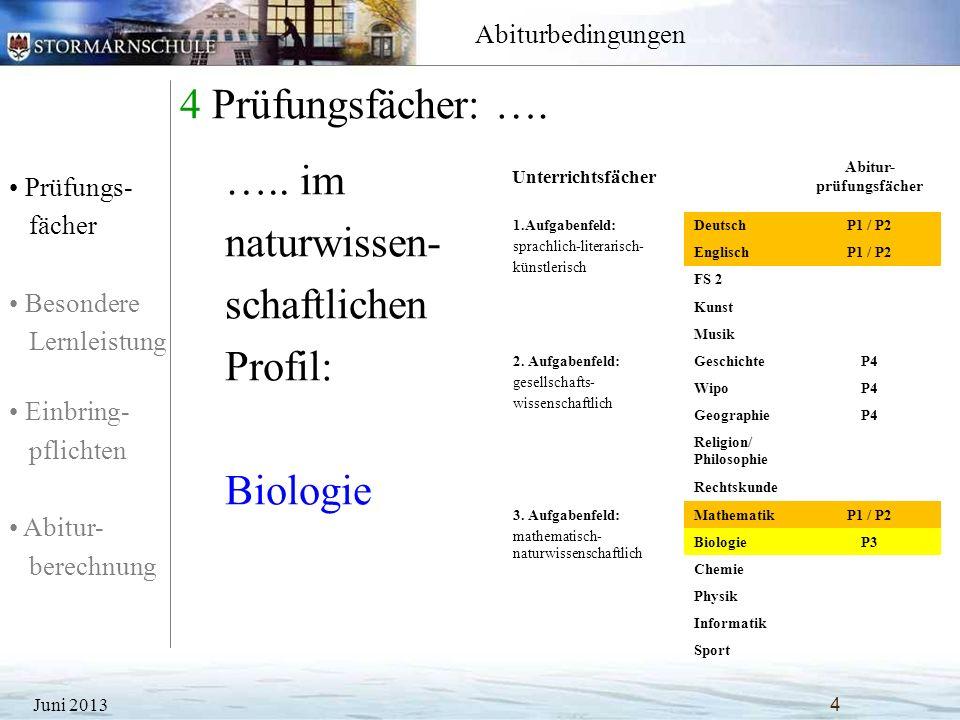 Prüfungs- fächer Besondere Lernleistung Einbring- pflichten Abitur- berechnung Abiturbedingungen 4 Prüfungsfächer: …. Juni 2013 4 Unterrichtsfächer Ab