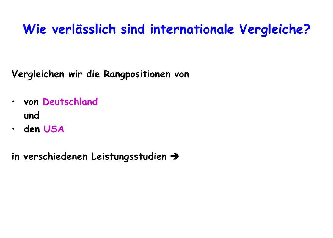 Wie verlässlich sind internationale Vergleiche? Vergleichen wir die Rangpositionen von von Deutschland und den USA in verschiedenen Leistungsstudien