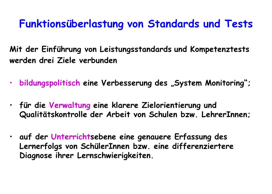 Funktionsüberlastung von Standards und Tests Mit der Einführung von Leistungsstandards und Kompetenztests werden drei Ziele verbunden bildungspolitisc