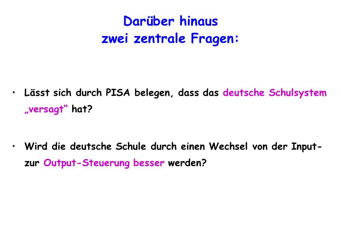 Darüber hinaus zwei zentrale Fragen: Lässt sich durch PISA belegen, dass das deutsche Schulsystem versagt hat? Wird die deutsche Schule durch einen We