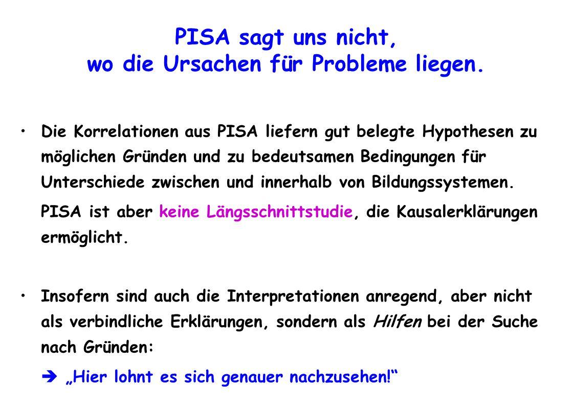 PISA sagt uns nicht, wo die Ursachen für Probleme liegen. Die Korrelationen aus PISA liefern gut belegte Hypothesen zu möglichen Gründen und zu bedeut