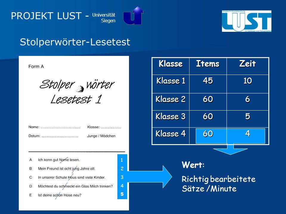 Stolperwörter-LesetestKlasseItemsZeit Klasse 1 4510 Klasse 2 606 Klasse 3 605 Klasse 4 604 1234512345 Wert: Richtig bearbeitete Sätze /Minute PROJEKT