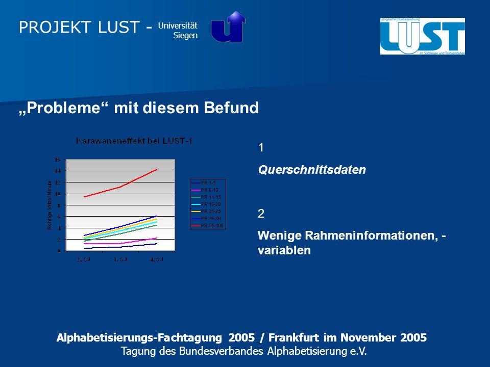 PROJEKT LUST - Universität Siegen 1 Querschnittsdaten 2 Wenige Rahmeninformationen, - variablen Probleme mit diesem Befund Alphabetisierungs-Fachtagun