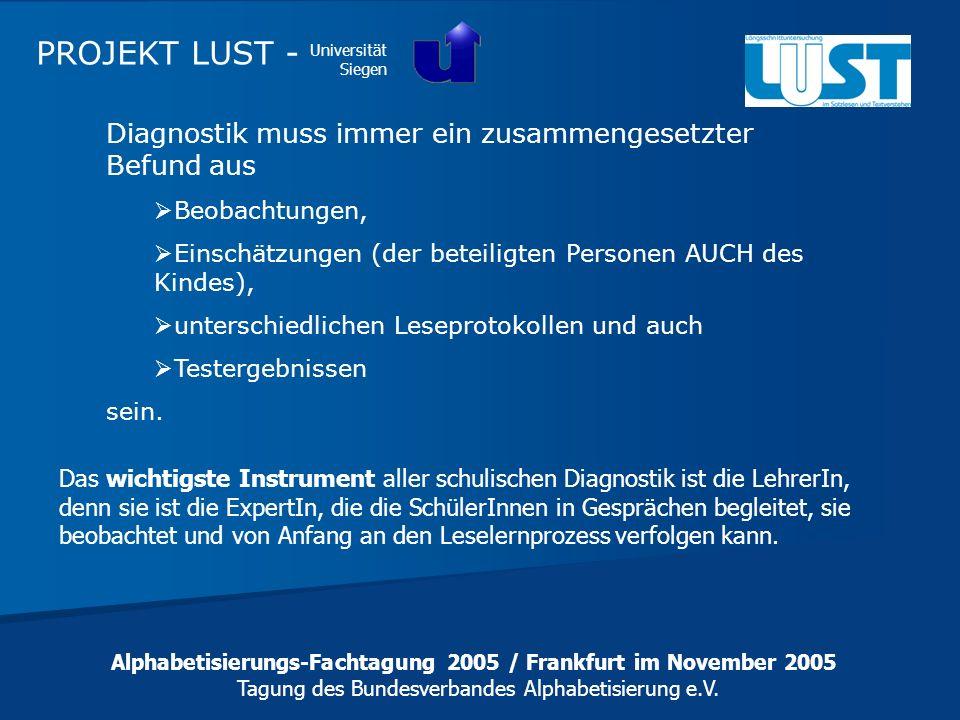 Alphabetisierungs-Fachtagung 2005 / Frankfurt im November 2005 Tagung des Bundesverbandes Alphabetisierung e.V. PROJEKT LUST - Universität Siegen Diag