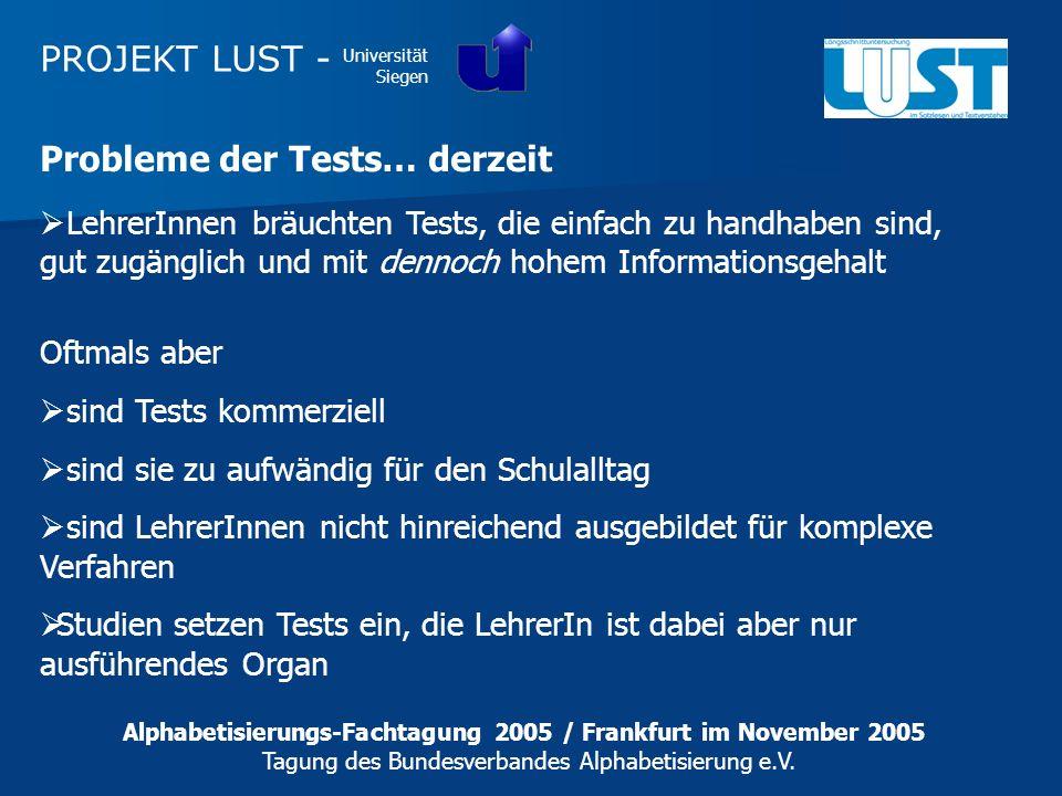 PROJEKT LUST - Universität Siegen Alphabetisierungs-Fachtagung 2005 / Frankfurt im November 2005 Tagung des Bundesverbandes Alphabetisierung e.V. Prob