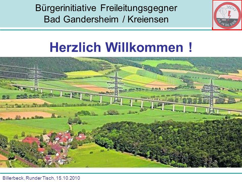 Billerbeck, Runder Tisch, 15.10.2010 Bürgerinitiative Freileitungsgegner Bad Gandersheim / Kreiensen Herzlich Willkommen !
