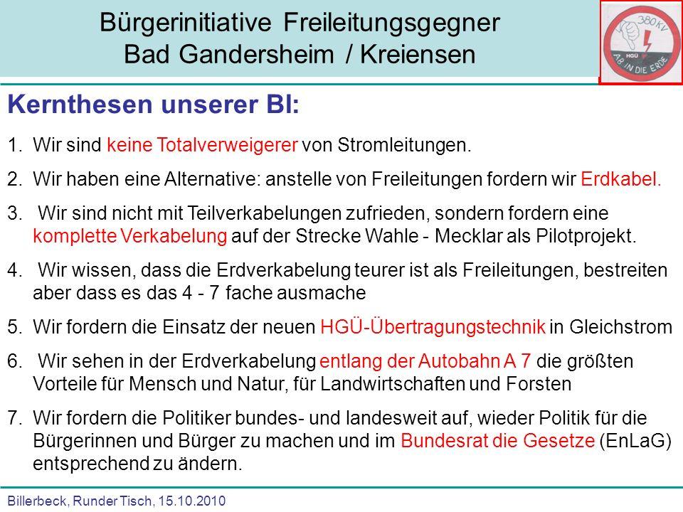 Billerbeck, Runder Tisch, 15.10.2010 Bürgerinitiative Freileitungsgegner Bad Gandersheim / Kreiensen Kernthesen unserer BI: 1.Wir sind keine Totalverw
