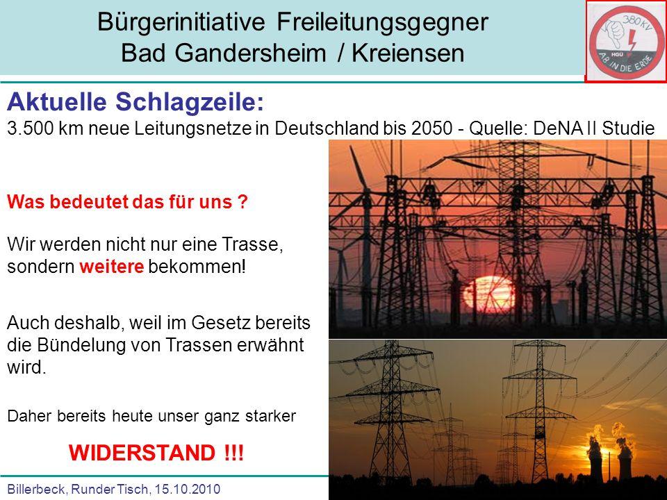 Billerbeck, Runder Tisch, 15.10.2010 Bürgerinitiative Freileitungsgegner Bad Gandersheim / Kreiensen Aktuelle Schlagzeile: 3.500 km neue Leitungsnetze