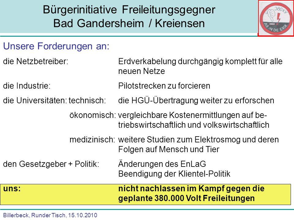 Billerbeck, Runder Tisch, 15.10.2010 Bürgerinitiative Freileitungsgegner Bad Gandersheim / Kreiensen Unsere Forderungen an: die Netzbetreiber:Erdverka