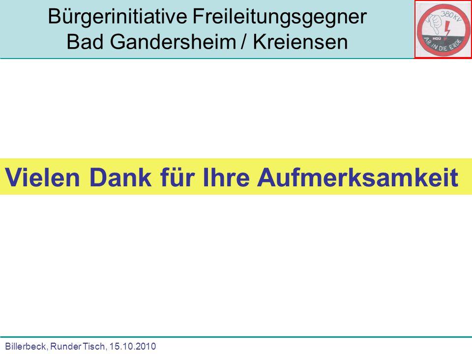 Billerbeck, Runder Tisch, 15.10.2010 Bürgerinitiative Freileitungsgegner Bad Gandersheim / Kreiensen Vielen Dank für Ihre Aufmerksamkeit