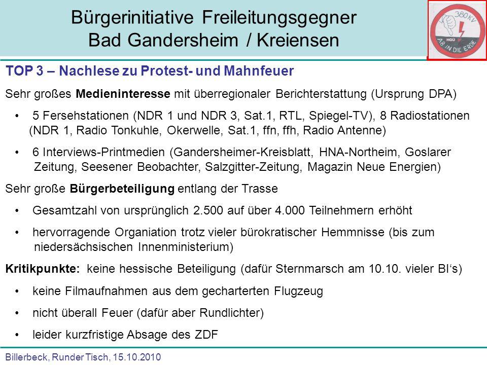 Billerbeck, Runder Tisch, 15.10.2010 Bürgerinitiative Freileitungsgegner Bad Gandersheim / Kreiensen TOP 3 – Nachlese zu Protest- und Mahnfeuer Sehr g