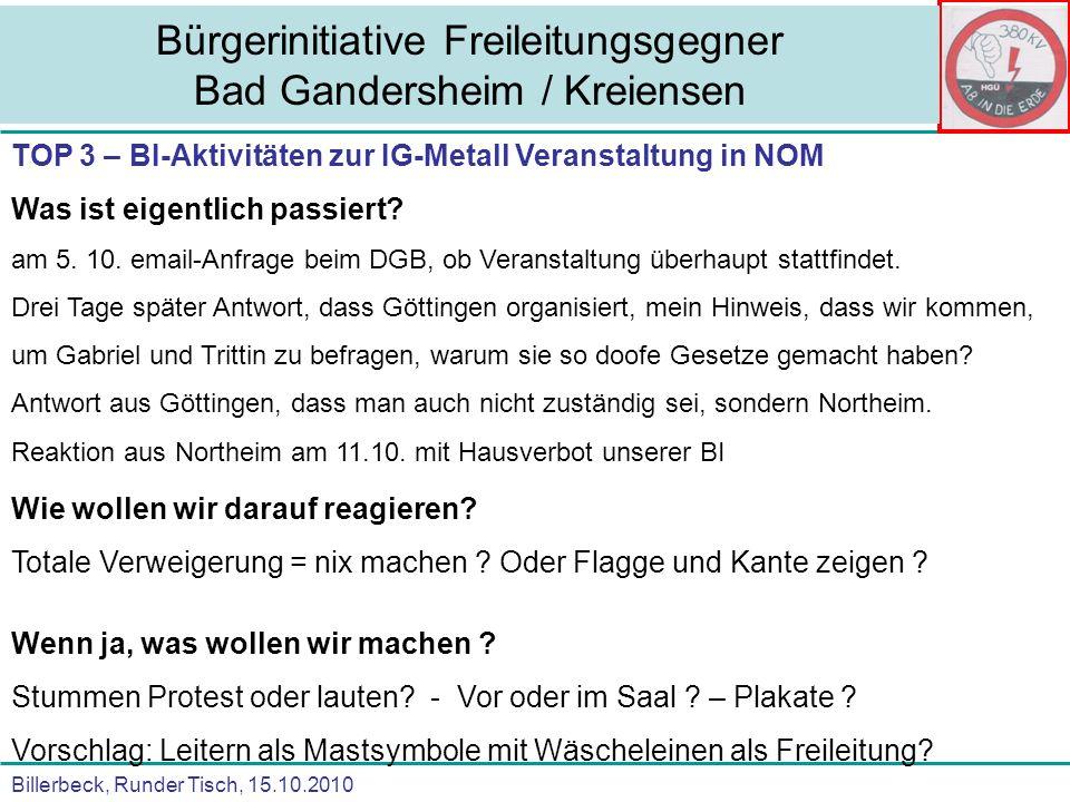 Billerbeck, Runder Tisch, 15.10.2010 Bürgerinitiative Freileitungsgegner Bad Gandersheim / Kreiensen TOP 3 – BI-Aktivitäten zum Besuch der Kanzlerin in Goslar am 23.10.