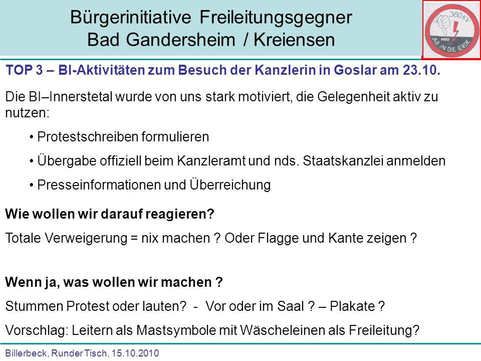 Billerbeck, Runder Tisch, 15.10.2010 Bürgerinitiative Freileitungsgegner Bad Gandersheim / Kreiensen TOP 3 – Anfragen an die BI zur Teilnahme an anderen Protesten Wie wollen wir darauf reagieren.