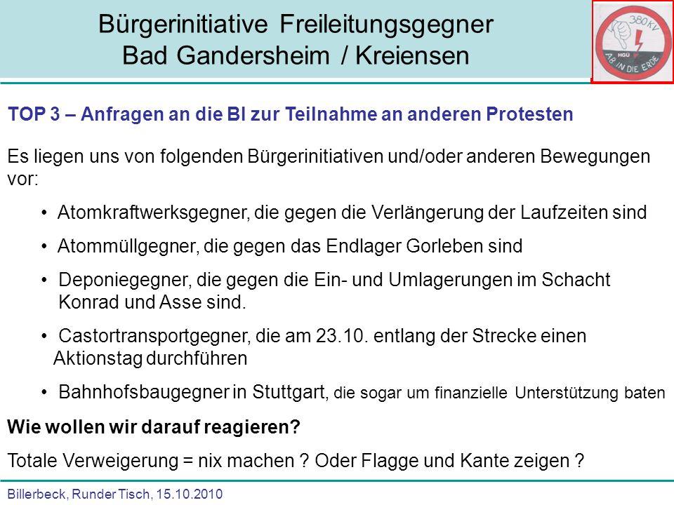 Billerbeck, Runder Tisch, 15.10.2010 Bürgerinitiative Freileitungsgegner Bad Gandersheim / Kreiensen TOP 3 – Anfragen an die BI zur Teilnahme an ander