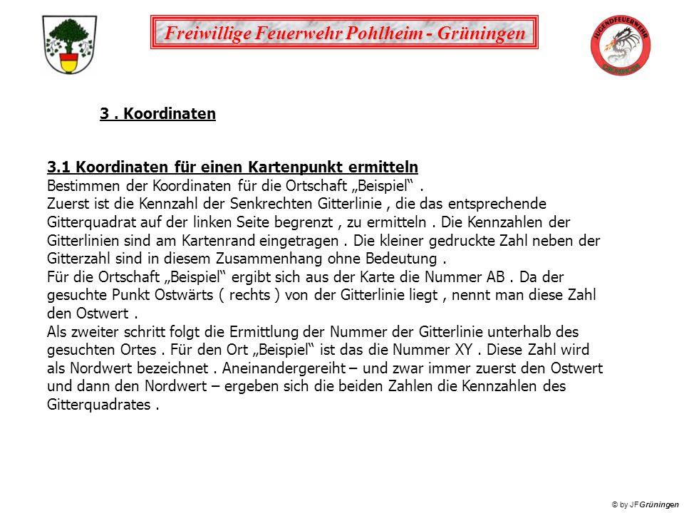 Freiwillige Feuerwehr Pohlheim - Grüningen © by JFGrüningen 3. Koordinaten 3.1 Koordinaten für einen Kartenpunkt ermitteln Bestimmen der Koordinaten f