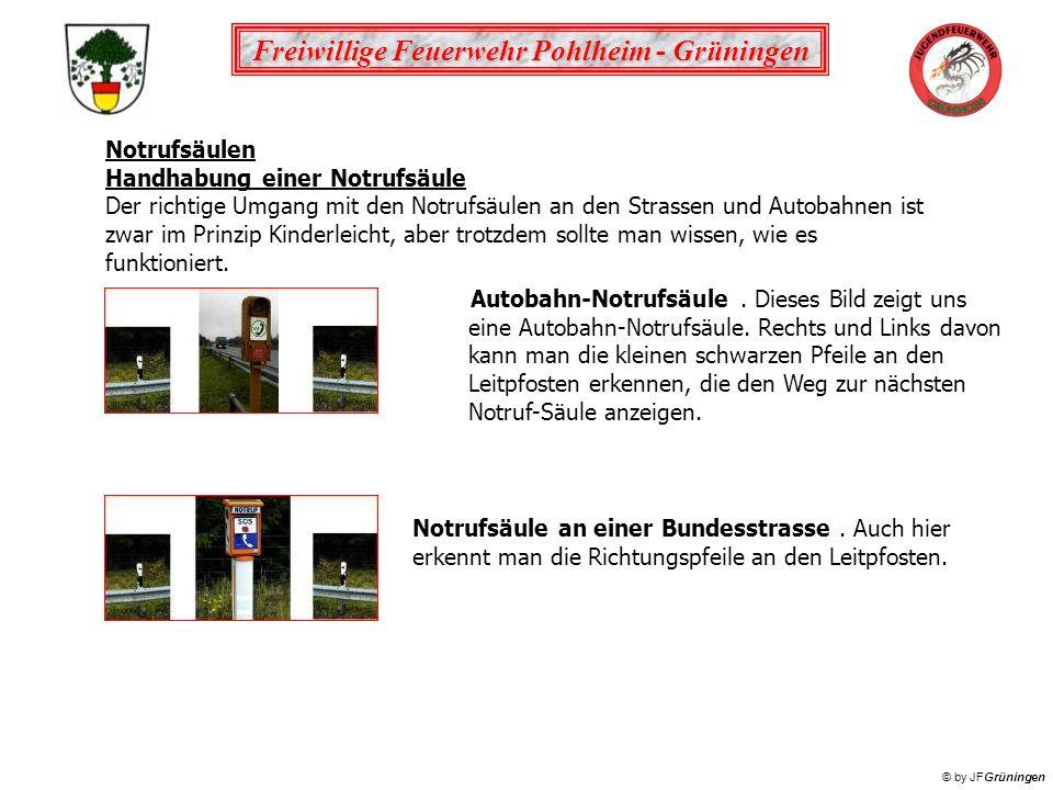 Freiwillige Feuerwehr Pohlheim - Grüningen © by JFGrüningen Notrufsäulen Handhabung einer Notrufsäule Der richtige Umgang mit den Notrufsäulen an den