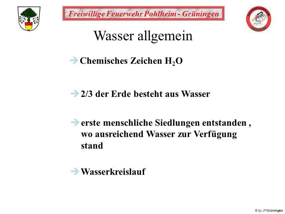 Freiwillige Feuerwehr Pohlheim - Grüningen © by JFGrüningen Wasser allgemein è2/3 der Erde besteht aus Wasser èerste menschliche Siedlungen entstanden