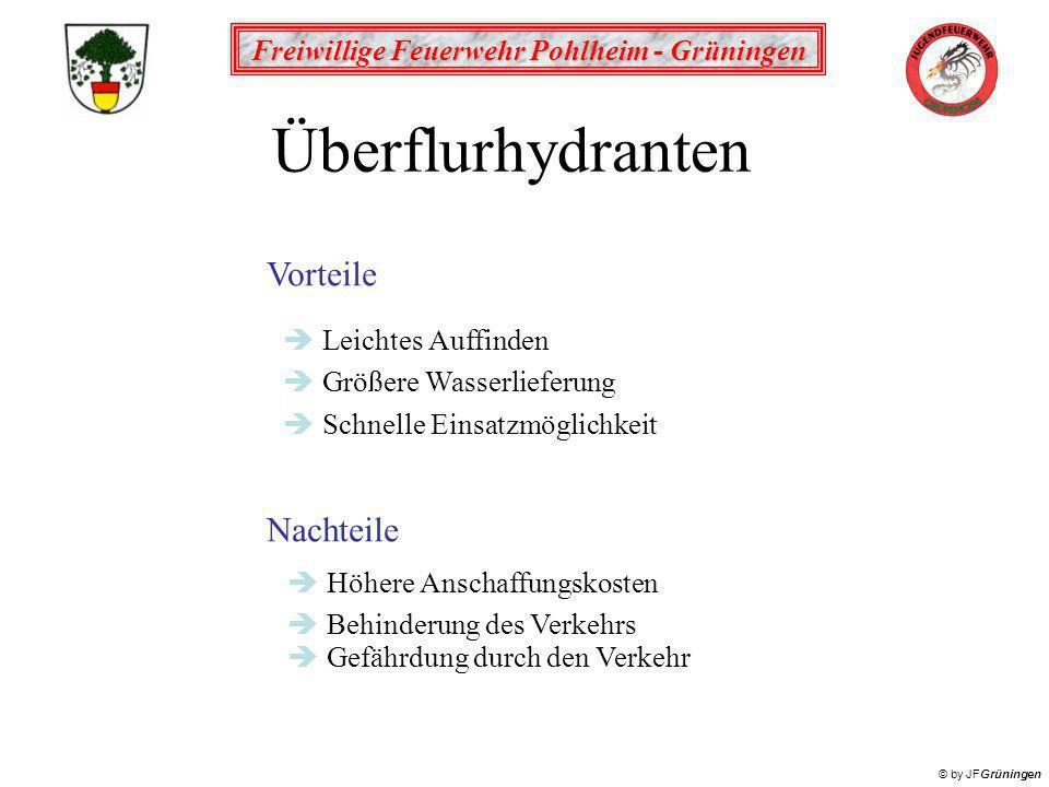 Freiwillige Feuerwehr Pohlheim - Grüningen © by JFGrüningen Vorteile Nachteile èHöhere Anschaffungskosten èBehinderung des Verkehrs Überflurhydranten