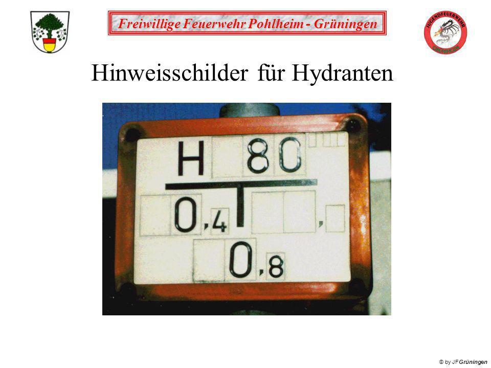 Freiwillige Feuerwehr Pohlheim - Grüningen © by JFGrüningen Hinweisschilder für Hydranten