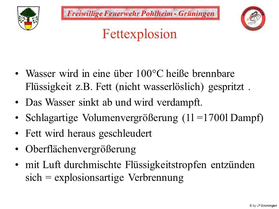 Freiwillige Feuerwehr Pohlheim - Grüningen © by JFGrüningen Fettexplosion Schutzmaßnahmen: brennende Fette und Öle nicht mit Wasser löschen abdecken oder ersticken Schutzkleidung verwenden Feuerwehr rufen