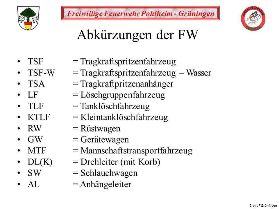Freiwillige Feuerwehr Pohlheim - Grüningen © by JFGrüningen Abkürzungen der FW TSF= Tragkraftspritzenfahrzeug TSF-W = Tragkraftspritzenfahrzeug – Wass