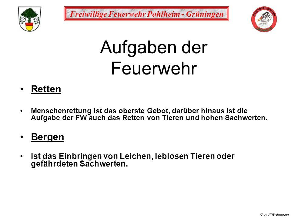 Freiwillige Feuerwehr Pohlheim - Grüningen © by JFGrüningen Aufgaben der Feuerwehr Retten Menschenrettung ist das oberste Gebot, darüber hinaus ist di