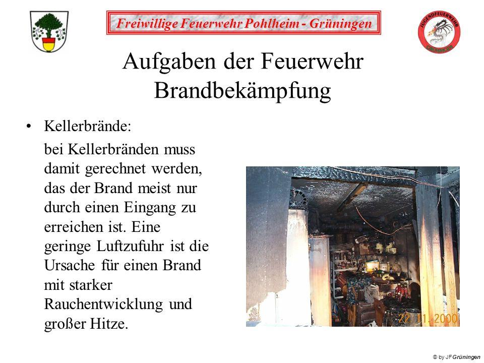 Freiwillige Feuerwehr Pohlheim - Grüningen © by JFGrüningen Aufgaben der Feuerwehr Brandbekämpfung Kellerbrände: bei Kellerbränden muss damit gerechne