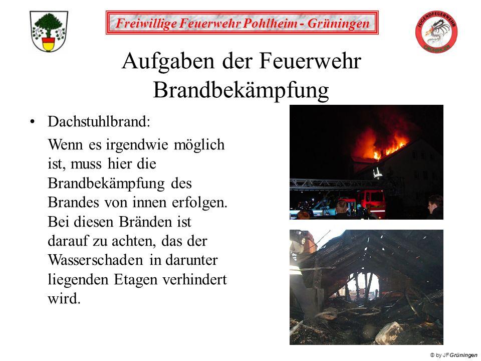 Freiwillige Feuerwehr Pohlheim - Grüningen © by JFGrüningen Aufgaben der Feuerwehr Brandbekämpfung Dachstuhlbrand: Wenn es irgendwie möglich ist, muss