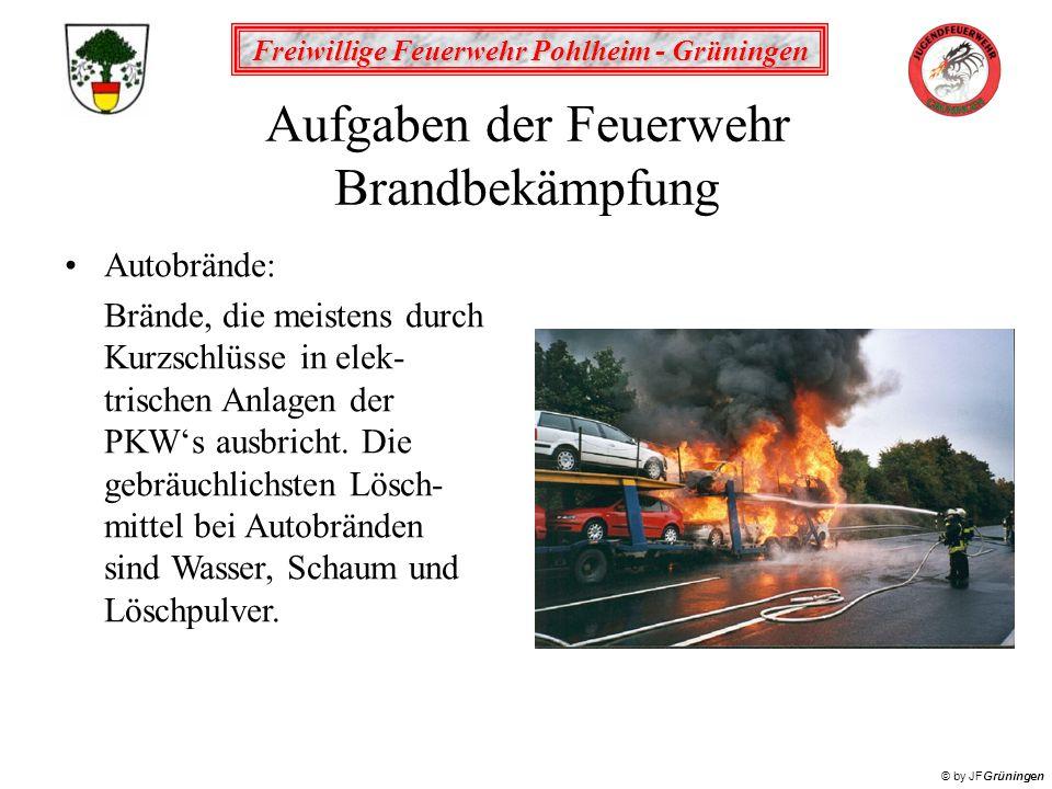 Freiwillige Feuerwehr Pohlheim - Grüningen © by JFGrüningen Aufgaben der Feuerwehr Brandbekämpfung Autobrände: Brände, die meistens durch Kurzschlüsse
