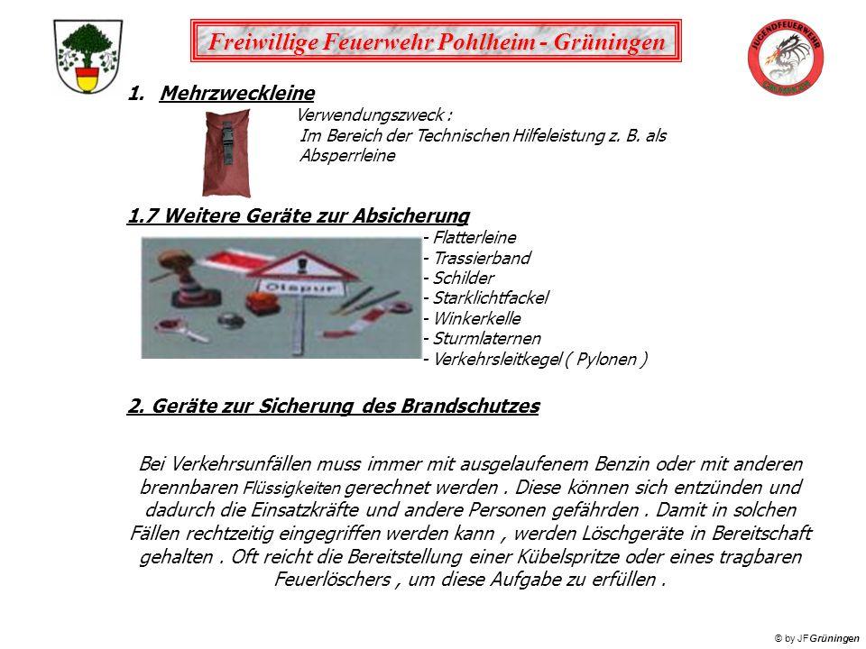 Freiwillige Feuerwehr Pohlheim - Grüningen © by JFGrüningen 2.1 Kübelspritze Verwendungszweck : Tragbares Löschgerät mit von Hand betriebener, doppelt wirkender Pumpe zum Ablöschen von Entstehungsbränden und Kleinbränden.