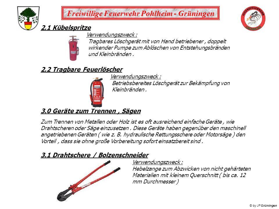 Freiwillige Feuerwehr Pohlheim - Grüningen © by JFGrüningen 2.1 Kübelspritze Verwendungszweck : Tragbares Löschgerät mit von Hand betriebener, doppelt