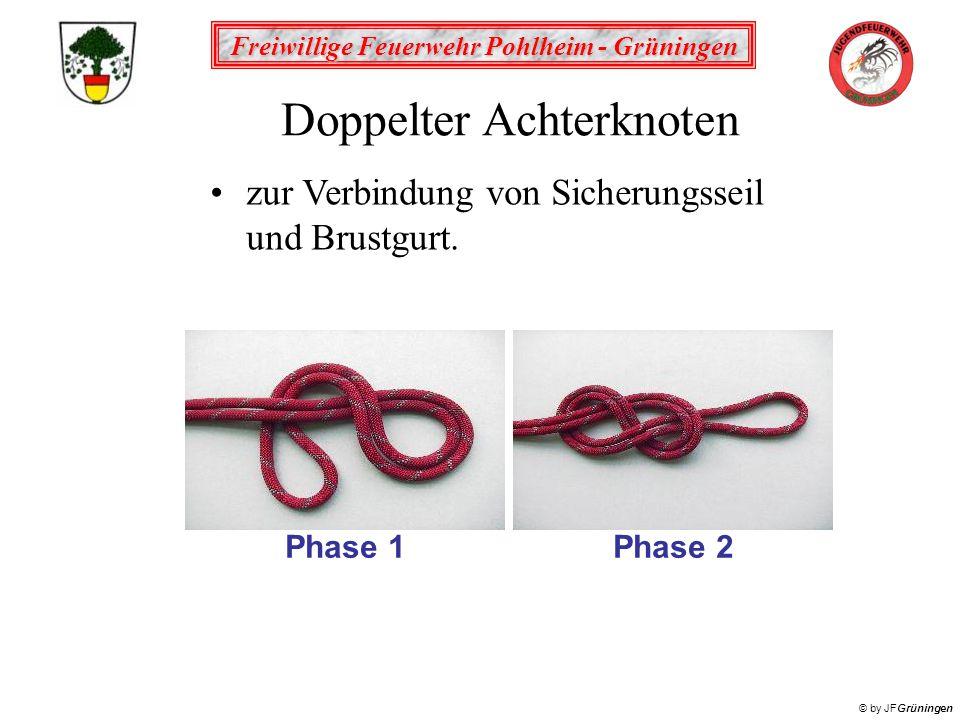 Freiwillige Feuerwehr Pohlheim - Grüningen © by JFGrüningen Doppelter Achterknoten zur Verbindung von Sicherungsseil und Brustgurt.