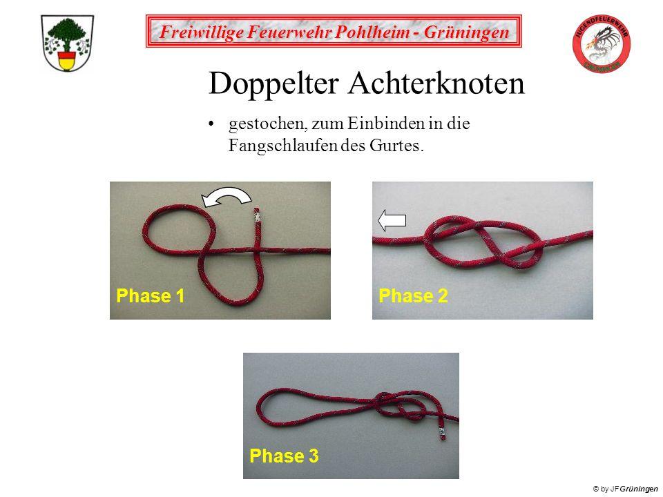 Freiwillige Feuerwehr Pohlheim - Grüningen © by JFGrüningen Doppelter Achterknoten gestochen, zum Einbinden in die Fangschlaufen des Gurtes.