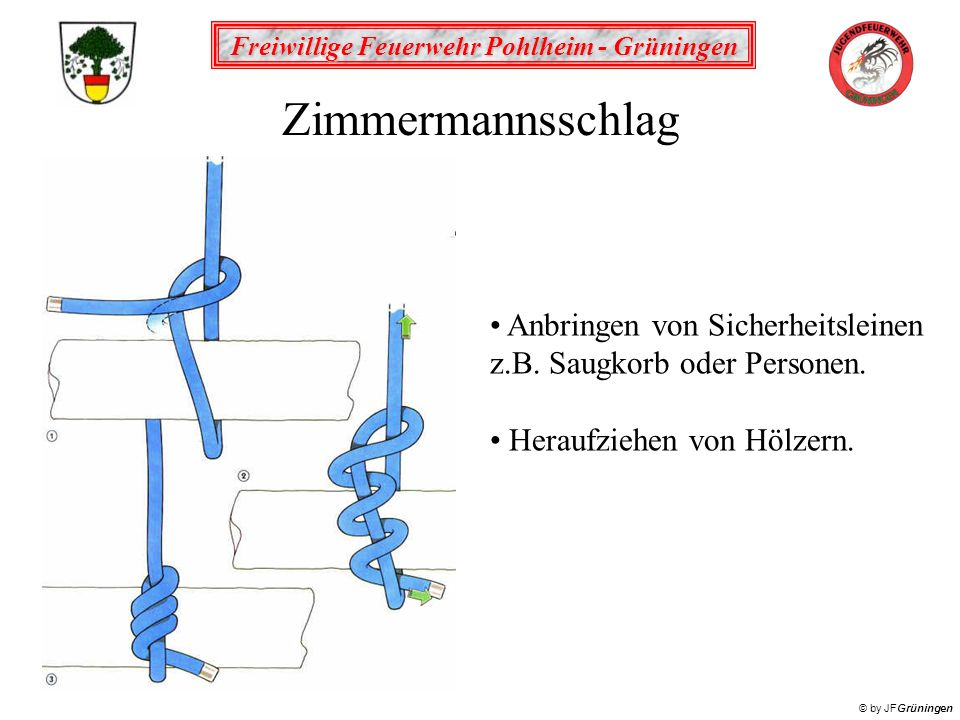 Freiwillige Feuerwehr Pohlheim - Grüningen © by JFGrüningen Mastwurf gelegt Zur Befestigung der Ventilleine am vorgesehenem Anschlagpunkt.