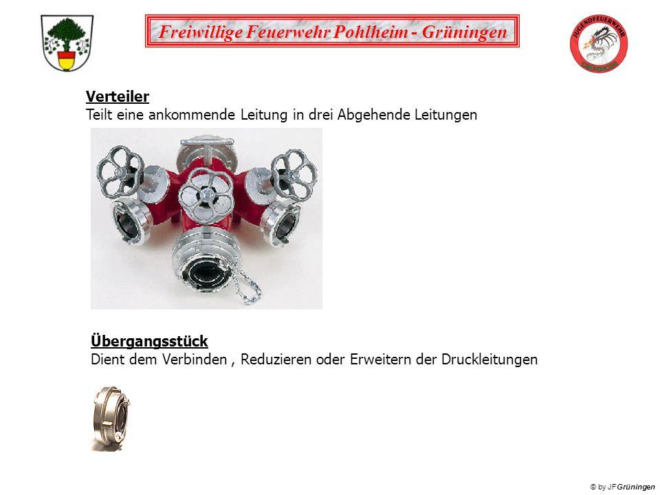 Freiwillige Feuerwehr Pohlheim - Grüningen © by JFGrüningen Verteiler Teilt eine ankommende Leitung in drei Abgehende Leitungen Übergangsstück Dient d