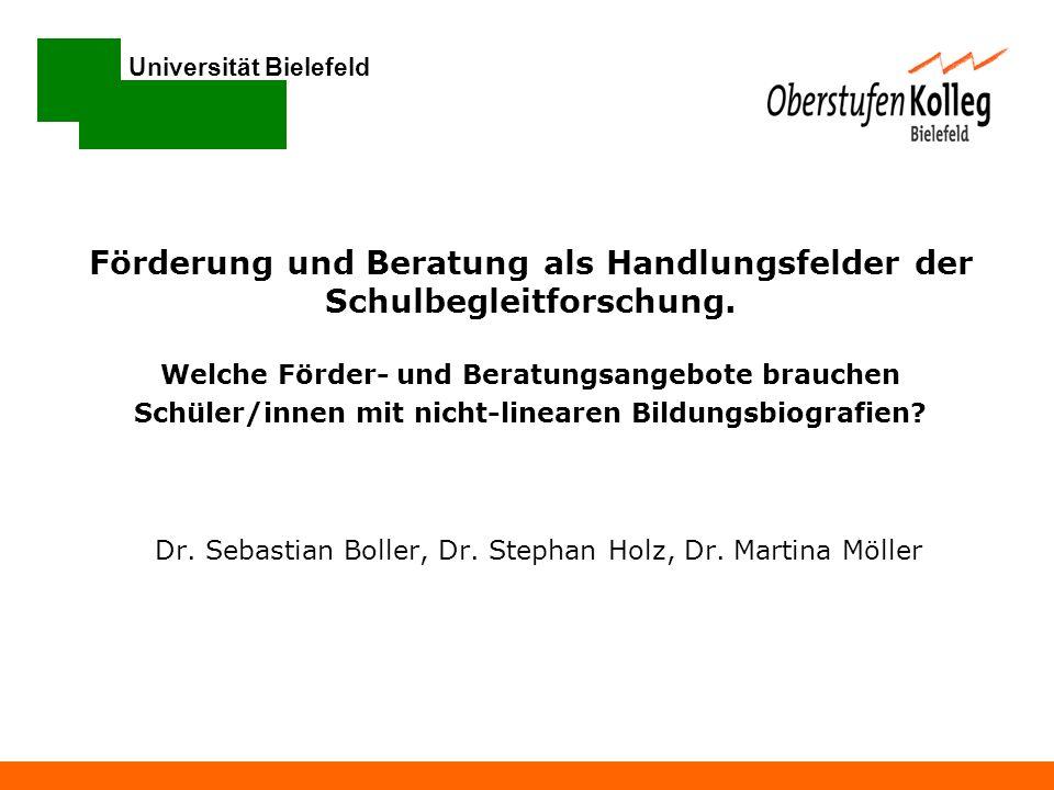 Universität Bielefeld Dr. Sebastian Boller, Dr. Stephan Holz, Dr. Martina Möller Förderung und Beratung als Handlungsfelder der Schulbegleitforschung.