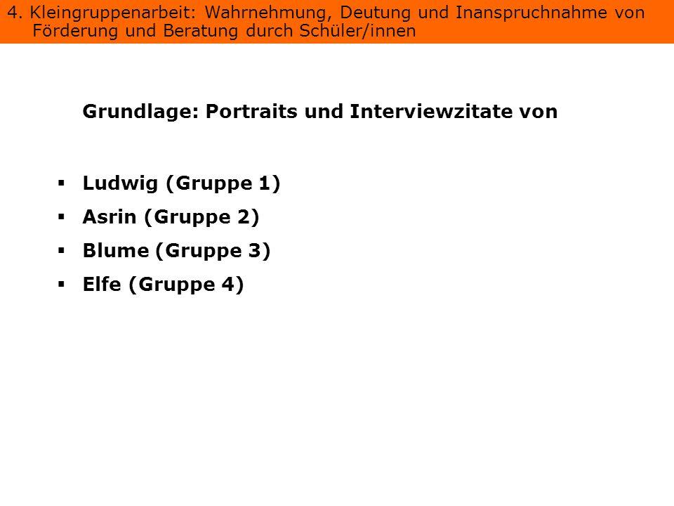 Grundlage: Portraits und Interviewzitate von Ludwig (Gruppe 1) Asrin (Gruppe 2) Blume (Gruppe 3) Elfe (Gruppe 4) 4. Kleingruppenarbeit: Wahrnehmung, D