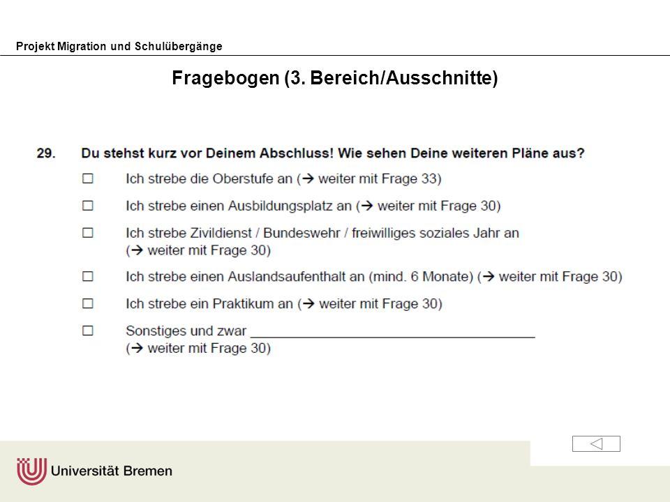 Projekt Migration und Schulübergänge Fragebogen (3. Bereich/Ausschnitte)